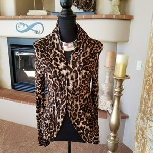 Open Front Leopard Print Cardigan New with Tags